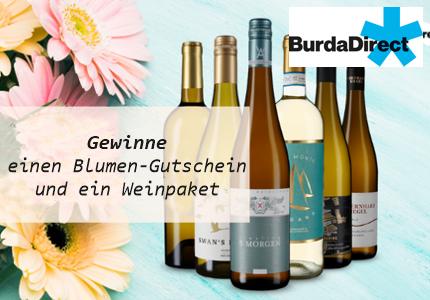 BurdaDirect Blumen und Wein Gewinnspiel