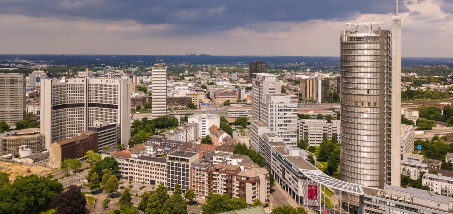 Skyline der Stadt Essen im Ruhrgebiet