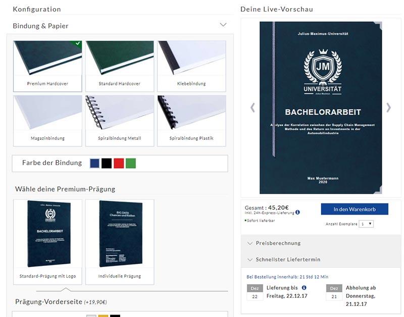 Bachelorarbeit drucken und binden online