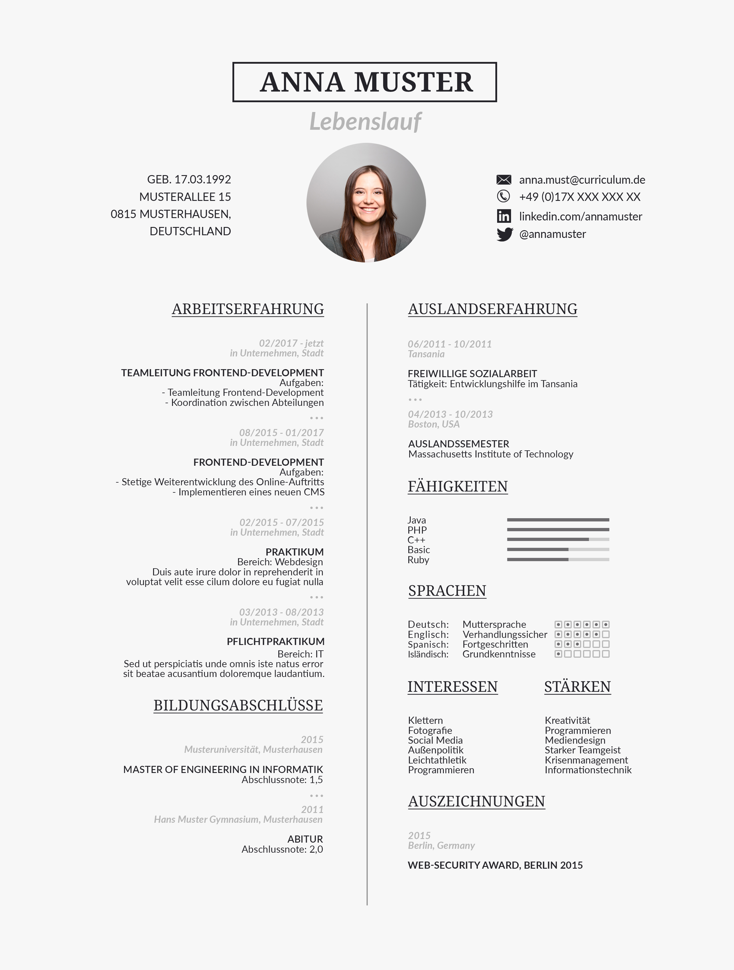 Designvorlage für einen Lebenslauf